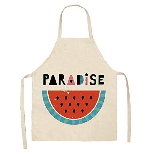 JJFU Schort voor de keuken, 1 stuks, creatief schort met watermeloenmotief, bedrukte letters, schort voor de keuken, 53 x 65 cm, unisex voor keuken, huishouden, koken, winkels, katoen, reiniging slabbetjes 2WQ-WQL0004-5