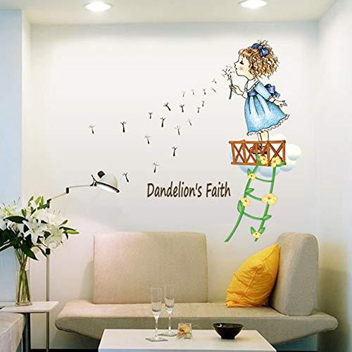 DSSJ Dibujos Animados extraíbles, Excepto Diente de león, Pegatina de Pared para niña, Sala de Estar, sofá, Fondo, decoración de Pared, Dormitorio, Puerta de Armario, Pintura autoadhesiva