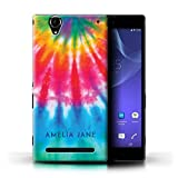 xperia t2 ultra bumper case - Personalized Custom Fabric Tie-Dye Patterns Case for Sony Xperia T2 Ultra/Sunlight Ombre Stamp Design/Initial/Name/Text DIY Cover