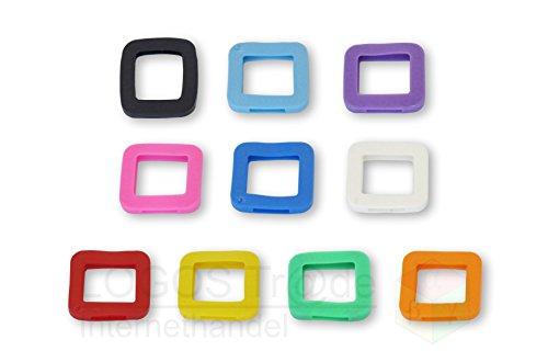 10 Schlüsselkennringe / Schlüsselkennring / Schlüsselkappe (eckig), ca. 25X23mm (10 Stück farbig sortiert)