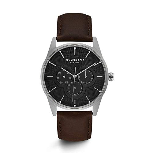 Kenneth Cole New York Male Stainless Steel Analog-Quartz Watch with Brown Strap, Leather, 22 (Model: KC15205001)