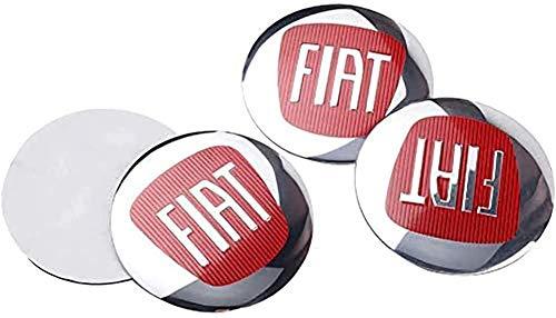 4 Piezas Tapas centrales Plastico Aleación Logo Insignia Coche, para Fiat 500 Punto Bravo Stilo Panda Abarth Tipo Tapacubos Pegatinas