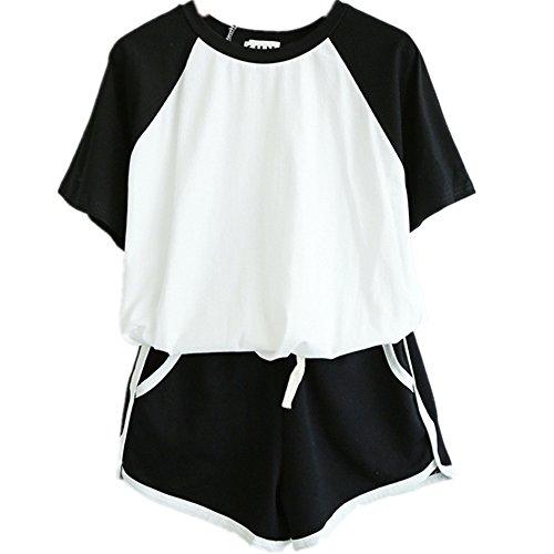 Yangelo ジャージ 春 夏物 上下 半袖 Tシャツ+ショートパンツ セット 2点 字母 レディース ルームウェア パジャマ 大きいサイズ 運動 アウトドア M ブラック