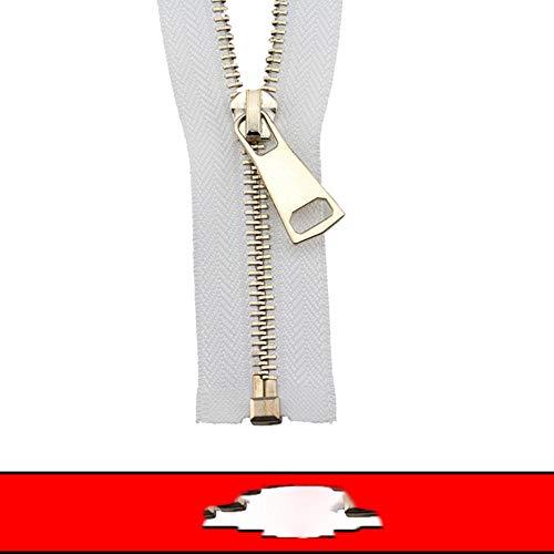 5 # 60/70/80/90/100/120/150 cm Metal Zipper Open-end auto Lock oro rosa para coser ropa cremalleras-blanco, 5#, 90cm