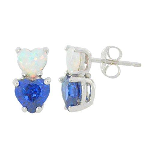 Simulierte Opal & Erstellt Saphir Blau Double Heart Ohrstecker 925Sterling Silber