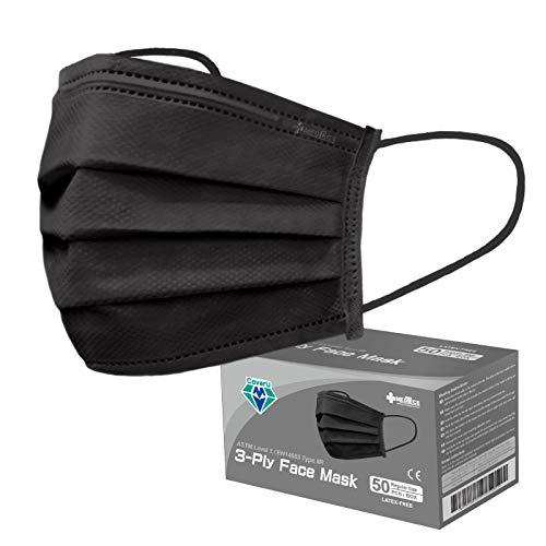 Medtecs Disposable Face Mask, 3 layer Breathable Masks, CoverU Black 50pc