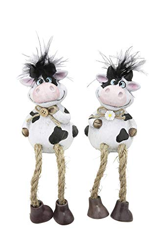 GILDE 2 Kantenhocker Kühe Molly 20,0x6,0x5,5cm, aus Ton