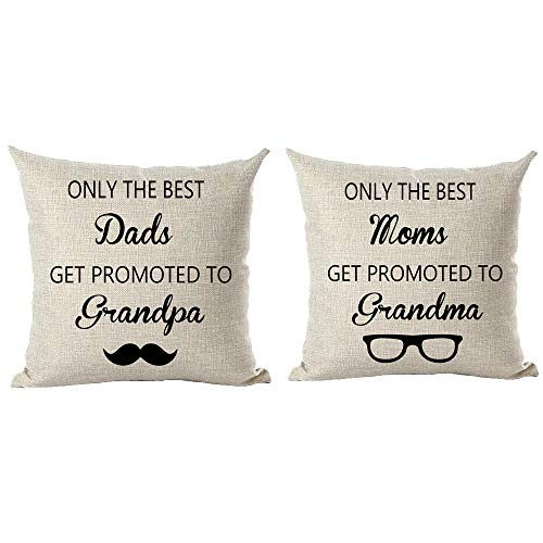 ramirar Set of 2 Black Word Art Quote Only The Best Dads (Moms) Get Promoted to Grandpa (Grandma) Throw Pillow Cover Case Cushion Home Living Room Bed Sofa Car Cotton Linen Square 18 x 18 Inches