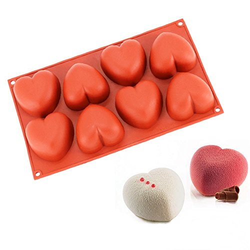 New Arrival Wine Red Silicone 3D 8-Cavity Valentine's Heart Design Mold for Mousse Cake Soap Chocolate Bath Bombs Bread Cake Tools (Color: Sent by random)