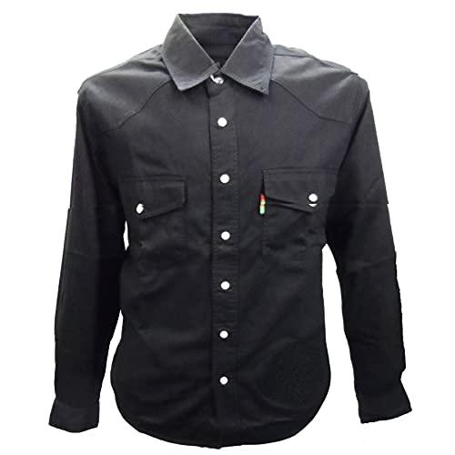 Duke - Camisa Vaquera Modelo Western en Tallas Grandes para Hombre (3XL) (Negro)