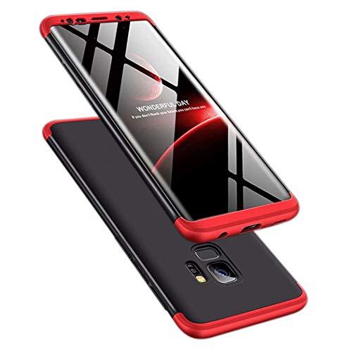 TXLING Funda Samsung Galaxy S9 Bumper 3 en 1 Estructura 360 Grados Case Ultra-Delgado [Ligera] Anti-rasguños Carcasa para Samsung Galaxy S9 Negro Rojo+Cristal Templado