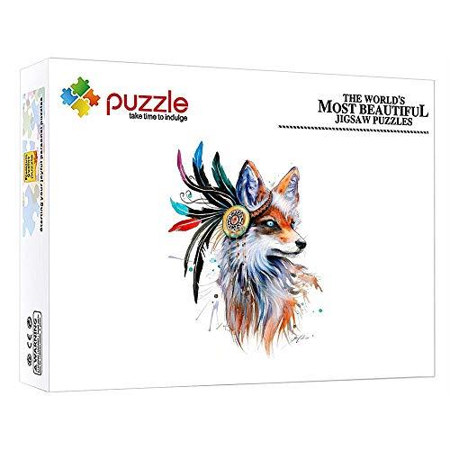 GFSJJ Puzzle De Madera 1000 Piezas Puzzles para Adultos Kids Infantiles Adolescentes Entretenimiento Adultos Y Kids (75 X 50 Cm) Animal Zorro