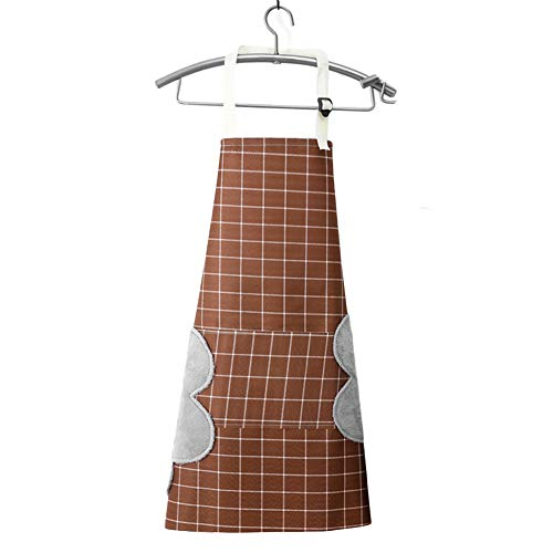 LINASHI Apron for Women Men Chef BBQ Cooking Kitchen Aprons Kitchen Cooking Baking Sleeveless Adjustable Oil-Proof Waterproof Grid Apron Coffee