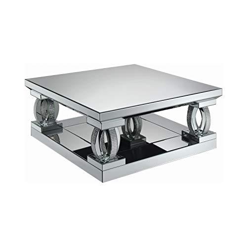 Coaster Home Furnishings Avonlea Square Lower Shelf Clear Mirror Coffee Table, Silver
