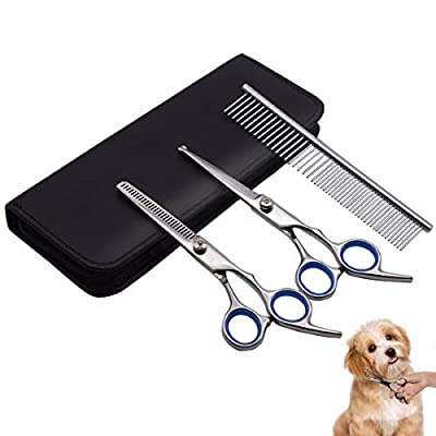 PetQoo Dog Grooming Scissors with Safety Round Tips, Heavy Duty Titanium Pet Grooming Trimmer Kit, Professional Thinning Shears, Straight Scissors with Comb for Large and Small Dogs and Cats from PetQoo