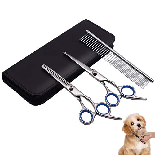 PetQoo Dog Grooming Scissors with Safety Round Tips, Heavy Duty Titanium Pet Grooming Trimmer Kit, Professional Thinning Shears, Straight Scissors with Comb for Large and Small Dogs and Cats