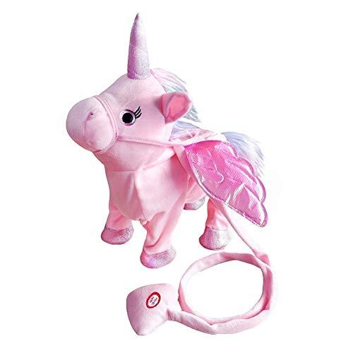 Abester Electric Walking Unicorn Plush Toy Stuffed Animal Toy, Magic Singing Leash Little Pony Toy for Toddlers Girls Boys,Kids & Pets (Pink)