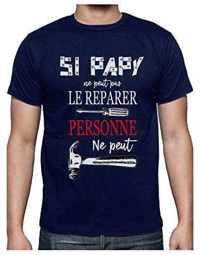 Papy Peut Tout réparer Cadeau pour Bricoleur Grand Pere Humour T-Shirt Homme XX-Large Marine