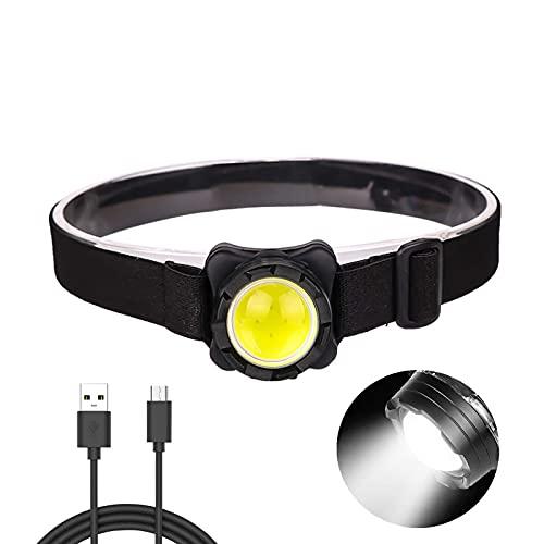 YXYY Linterna Frontal Impermeable Potente COB Linterna Frontal USB Recargable Linterna Frontal LED COB con luz roja y Blanca Batería incorporada Linterna Frontal Impermeable para Correr Pesca Sen