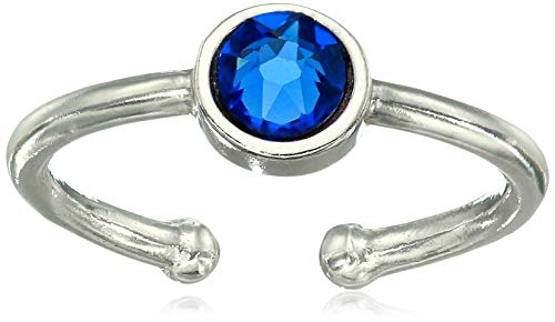 Alex and Ani Women's Swarovski Color Code Adjustable Ring September Sapphire, Sterling Silver