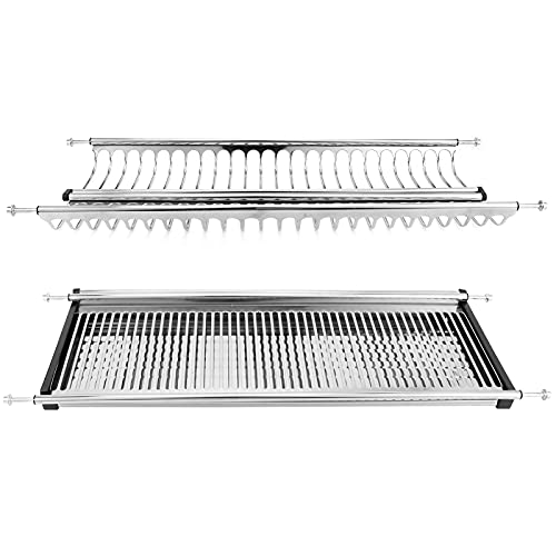 Dish Drainer, Elegant Design Easy to Clean Easy to Dry Double Layer Stainless Steel Dish Rack Movable Layer Spacing for Cutlery for Agricultural Products(Cabinet Width 70cm, White)