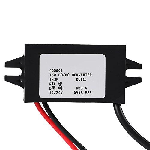 1 stück DC-DC Adapter 12 V / 24 V zu USB 5 V 3A Konverter Regler Wasserdichte Stromwandler Kabel Drähte