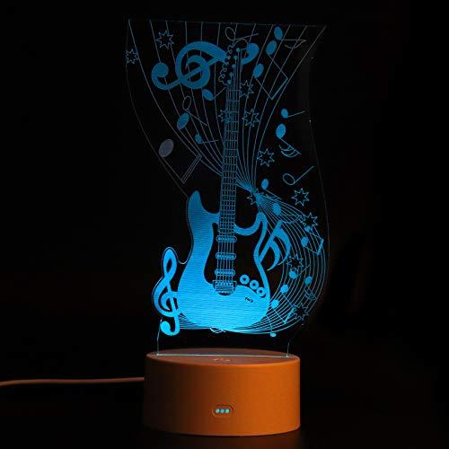FENRIR Lámpara de ilusión 3D,luz nocturna 3D para niños y niñas,lámpara de escritorio de mesa de 7 colores que cambian de decoración del hogar,Control tactil,guitarra electrica