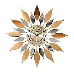 SHISEDECO Metal Sunburst Wall Clock, Modern Silent Battery Operated Star Clock Pop Color Quartz Clocks Decorative Living Room & Bed Room (C)