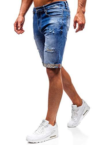 BOLF Hombre Pantalón Corto Pantalones Vaqueros Denim con Estampado Pantalón de Algodón Ross Kemp T399 Azul 30 [7G7]