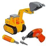 deAO Camión de Construcción para Montar y Desmontar Vehículo Puzle Incluye Camión Destornillador y Taladro Eléctrico (Camión Excavador)