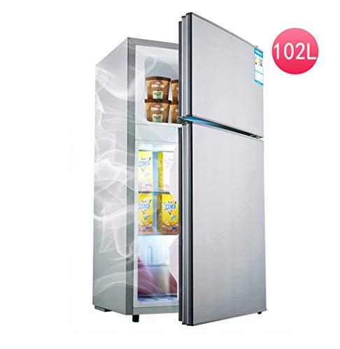 Unbekannt Doppeltür Kühlschrank, leise Energieeinsparung, Kühlung und Erhaltung, Silber, 102L, 41x40x85cm