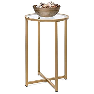 Best Choice Products 16in Modern Round Side Coffee Table Accent Furniture w/Metal Frame, Glass Top - Gold