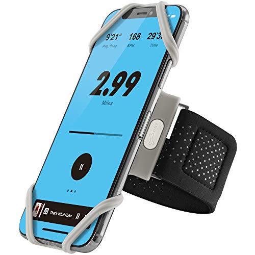 Bone Sportarmband für Handy, Federleichtes Handy Armband zum Joggen Handytasche Sport, Handyhalter Arm für iPhone 11 Pro Max XS XR X 8 Samsung Huawei - Grau (XL) (Armumfang: 33-54.5cm)