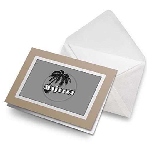 Impresionante tarjetas de felicitación con texto en inglés 'Biege' BW – Mallorca Sunset Travel Holiday sello en blanco tarjeta de felicitación de cumpleaños para niños y niñas #40648
