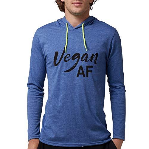 CafePress Vegan AF Mens Hooded Shirt Heather Blue