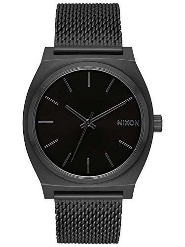 Nixon Time Teller Milanaise Damennuhr Analog Quarz mit Edelstahl Armband All Schwarz