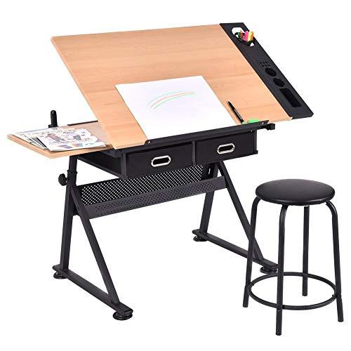 XY&YD Hoogte Verstelbare Drafting Art Easel Bureau Tekening Tafel Kantelbaar Tafelblad Easel Met Kruk En Opslag Lade Voor Lezen Schrijven Kunst Craft Werkstation
