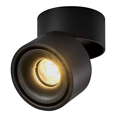 Dr.lazy 10W LED Focos para el techo,Focos de pared, Lámpara de techo, Focos de pared, Lámpara de salón, Luz de techo led, Plafón con Focos, IP20, 10X10x10CM (Negro-3000K)