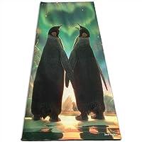 男性用ヨガマットペンギンラブハート南極オーロラライト完璧なクリスマスギフトおもしろいノベルティ(70 x 24インチ)(61X180 cm)