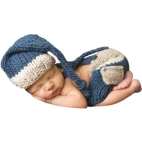 Jastore Foto Fotografie Prop Baby Junge Kostüm Nette blau Stricken Handarbeit Bekleidung Häkelarbeit neugeboren Geschenk
