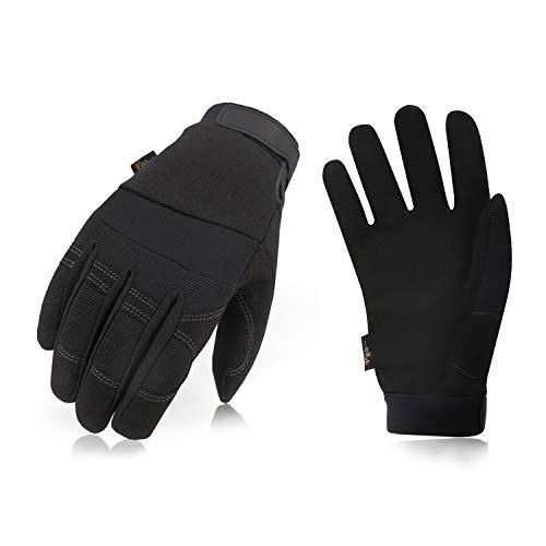 Vgo 1双入 0℃ 以上に 冬用 合成革 3Mシンサレート裏綿付 防寒 厚手 作業用グローブ 作業革手袋(1双入, Black,SL8270F) (L, Black)