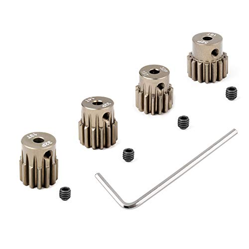 Hobbypark Metal 7075 Aluminum Alloy 32 Pitch Pinion Gear Set 3.175mm Shaft Hole 13T 14T 15T 16T Motor Gears Kit for RC Car (4-Pack)