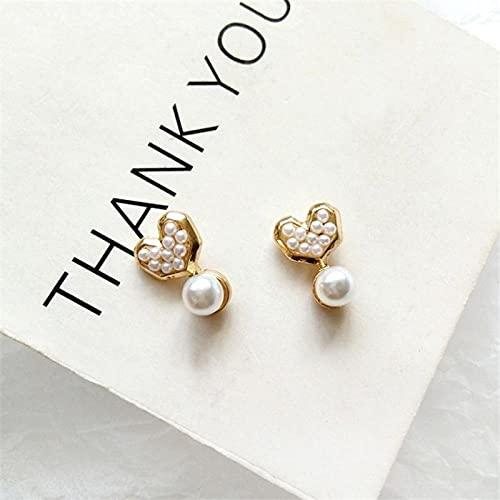 LIUBAOBEI Pendientes De Mujer Aro,Pendientes De Corazón Simples Románticos Pendientes De Perlas Encantadores Pendientes De Botón De Joyería De Moda para Mujer-Stud_Earring