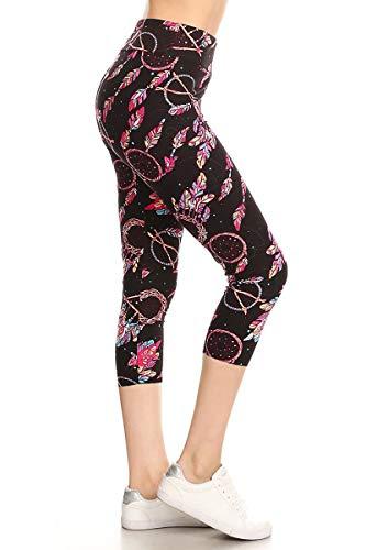 LYCPR-R894 Dreamcatcher Yoga Capri Print Leggings, One Size