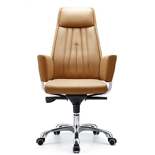 WYB Silla de Cuero, Silla de computadora giratoria y elevación de 360 Grados, diseño ergonómico, Adecuado para Estudios de Oficina,Genuine Leather