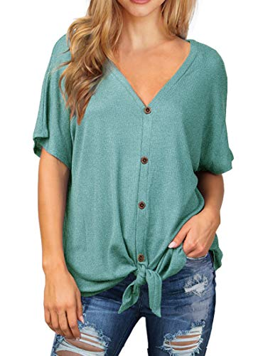 Product Image of the IWOLLENCE Womens Waffle Knit Tunic Blouse Tie Knot Short Sleeve Henley Tops...