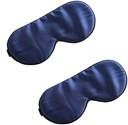 Silk Eye Sleep Mask Adjustable Strap 2 Pcs Comfortable Super Soft Blue Eye Mask Satin Eye Mask product image