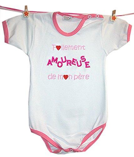 Zigozago - Body Bèbè à Manches Courtes pour bébé avec Broderie FOLLEMENT Amoureuse DE Mon PÈRE Taille: 9 Mois - Couleur: Rose