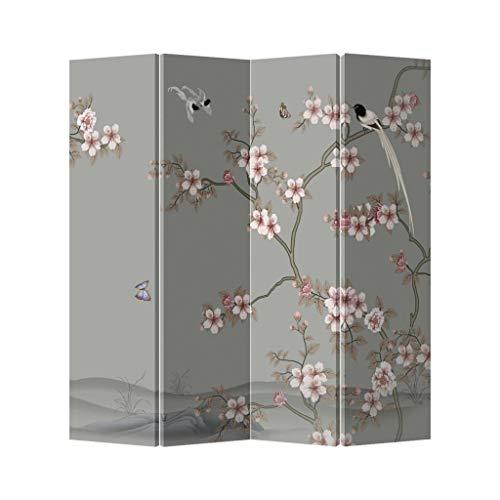 Fine Asianliving Chinees Kamerscherm Oosters Scheidingswand 4 Panelen Licht Roze Sakura L160xH180cm Canvas Screen Twee-zijdig Print Art 203-177