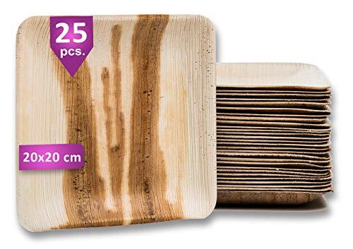 Waipur Platos Hoja de Palma Orgánicos – 25 Platos Desechables Cuadrados 20x20 cm - Vajilla Ecológica de Lujo, Estable, Natural y Biodegradable - Platos de Fiesta – Platos de Madera